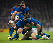 Cardiff, Wales, Great Britain, Sebastien TILLOUS-BORDE, tackles by Jamie HISLOP, during the Pool D game, France vs Ireland.  2015 Rugby World Cup,  Venue, Millennium Stadium, Cardiff. Wales   Sunday  11/10/2015.   [Mandatory Credit; Peter Spurrier/Intersport-images]