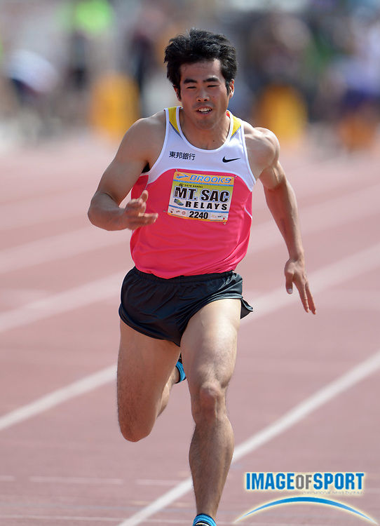 Apr 18, 2014; Walnut, CA, USA; Kazuya Tajima (JPN) wins 100m heat in 10.70 in the 56th Mt. San Antonio College Relays at Hilmer Lodge Stadium.