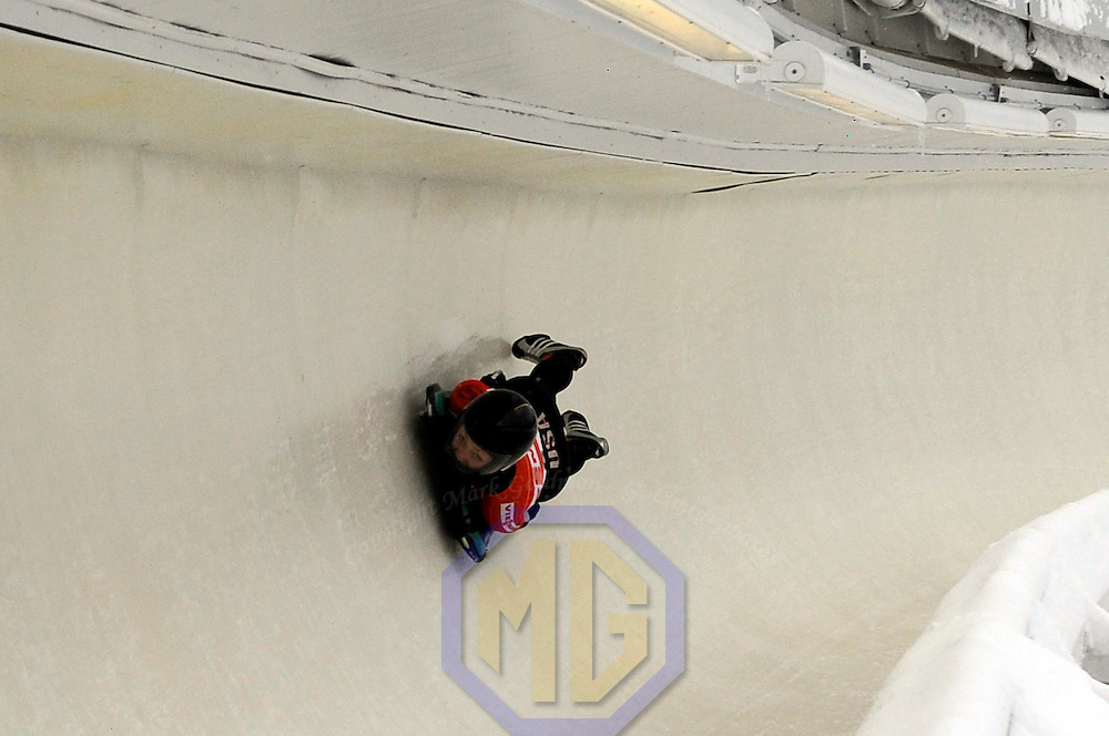 14 December 2007:  Katie Uhlaender of the United States competes at the FIBT World Cup Women's skeleton competition on December 14, 2007 at the Olympic Sports Complex in Lake Placid, NY.  Uhlaender won the race with a time of 1:52.60.