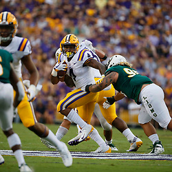 Sep 8, 2018; Baton Rouge, LA, USA; LSU Tigers running back Nick Brossette (4) runs against the Southeastern Louisiana Lions during the first quarter of a game at Tiger Stadium. Mandatory Credit: Derick E. Hingle-USA TODAY Sports