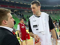 Anze Blazic in Goran Jagodnik na Dnevu slovenske kosarke, on January 2, 2011 in Arena Stozice, Ljubljana, Slovenia.  (Photo By Vid Ponikvar / Sportida.com)