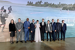 (left to right) Kathleen Kennedy, Ben Mendelssohn, Forest Whitaker, Riz Ahmed, Felicity Jones, Diego Luna, Donnie Yen, Mads Mikkelsen, Alan Tudyk and Gareth Edwards attending the Rogue One: A Star Wars Story Premiere, at the Tate Modern, London. Picture Credit Should Read: Doug Peters/EMPICS Entertainment