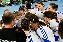Team ZRK Buducnost after handball match between RK Krim Mercator (SLO) and ZRK Buducnost (MNE) in 6th Round of Main Round of Women's EHF Champions League 2013/14  on March 15, 2014 in SRC Stozice, Ljubljana, Slovenia. Photo by Urban Urbanc / Sportida.com
