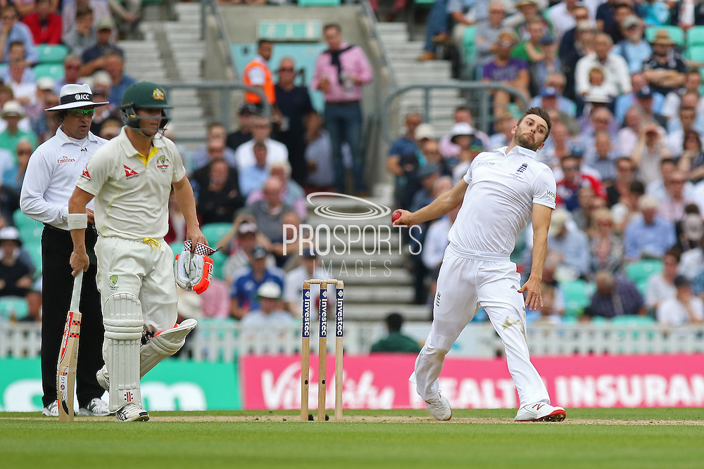 Mark Wood of England fires one in during the 1st day of the 5th Investec Ashes Test match between England and Australia at The Oval, London, United Kingdom on 20 August 2015. Photo by Phil Duncan.