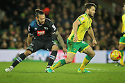 Norwich City midfielder Wesley Hoolahan turns away from  Derby County midfielder Bradley Johnson (15) during  the EFL Sky Bet Championship match between Norwich City and Derby County at Carrow Road, Norwich, England on 2 January 2017. Photo by Nigel Cole.