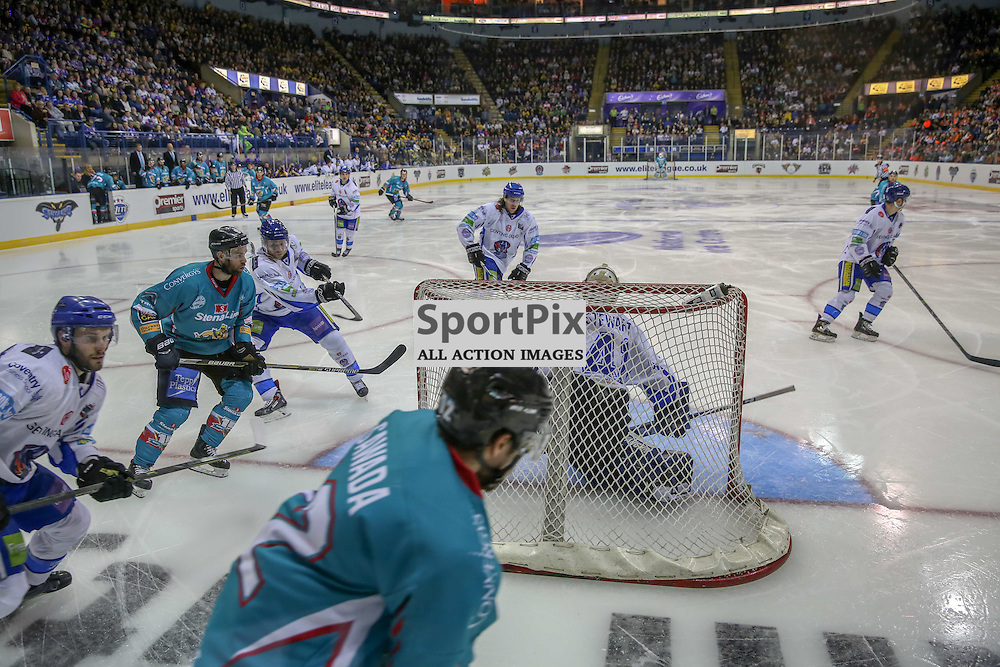 NOTTINGHAM, UNITED KINGDOM 04 APRIL 2015:  Belfast Giants' Ray Sawada on the attack during the Elite League Play Off Semi Final game between Coventry Blaze and Belfast Giants at the National Ice Centre, Nottingham, on April 4, 2015 in Nottingham, England. (Photo by Michael Poole)