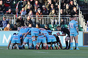 Saracens scrum-half Tom Whitely (9) about to feed the ball into the scrum during the Premiership Rugby Cup match between Saracens and Worcester Warriors at Allianz Park, Hendon, United Kingdom on 11 November 2018.