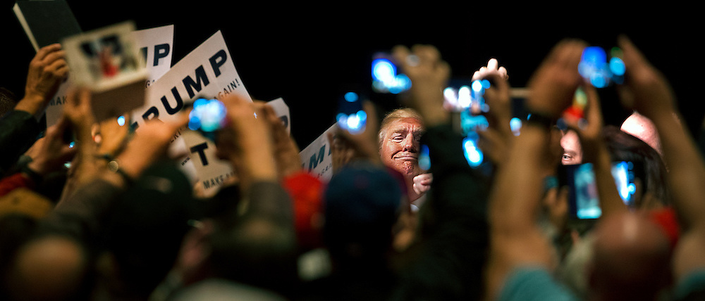 Republican Presidential candidate Donald Trump greets and signs autographs for his supporters following his speech and rally at South Point Hotel, Casino and Spa in Las Vegas on Thursday, January 21, 2016. L.E. Baskow