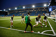 Leeds players warming up during the EFL Sky Bet Championship match between Sheffield Wednesday and Leeds United at Hillsborough, Sheffield, England on 28 September 2018.