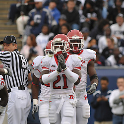 Oct 31, 2009; East Hartford, CT, USA; Rutgers cornerback Devin Mccourty (21) claps after downing a punt on Connecticut's 1-yard line during second half Big East NCAA football action in Rutgers' 28-24 victory over Connecticut at Rentschler Field.