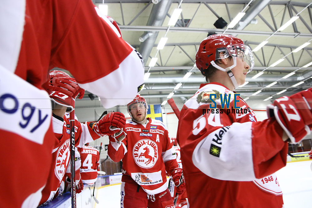 2020-02-12 | Ljungby, Sweden: Troja-Ljungby (25) Mattias Åkesson celebrating a goal during the game between IF Troja / Ljungby and Huddinge IK at Ljungby Arena ( Photo by: Fredrik Sten | Swe Press Photo )<br /> <br /> Keywords: Ljungby, Icehockey, HockeyEttan, Ljungby Arena, IF Troja / Ljungby, Huddinge IK, fsth200212, ATG HockeyEttan, Allettan