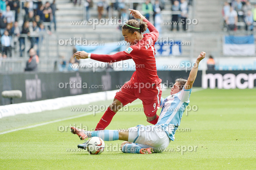 27.09.2015, Allianz Arena, Muenchen, GER, 2. FBL, TSV 1860 Muenchen vs RB Leipzig, 9. Runde, im Bild Yussuf Poulsen (RasenBallsport Leipzig e.?V), Maximilian Wittek (TSV 1860 Muenchen), v.li. Aktion, // during the 2nd German Bundesliga 9th round match between TSV 1860 Munich vs RB Leipzig at the Allianz Arena in Muenchen, Germany on 2015/09/27. EXPA Pictures &copy; 2015, PhotoCredit: EXPA/ Eibner-Pressefoto/ Buthmann<br /> <br /> *****ATTENTION - OUT of GER*****