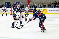 2020-01-22   Kallinge, Sweden: Krif hockey (55) Martin Ekström and Halmstad Hammers (45) Jacob Sundberg during the game between Krif hockey and Halmstad Hammers at Soft Center Arena (Photo by: Jonathan Persson   Swe Press Photo)<br /> <br /> Keywords: kallinge, Ishockey, Icehockey, hockeyettan, allettan södra, soft center arena, krif hockey, halmstad hammers (Match code: krhh200122)