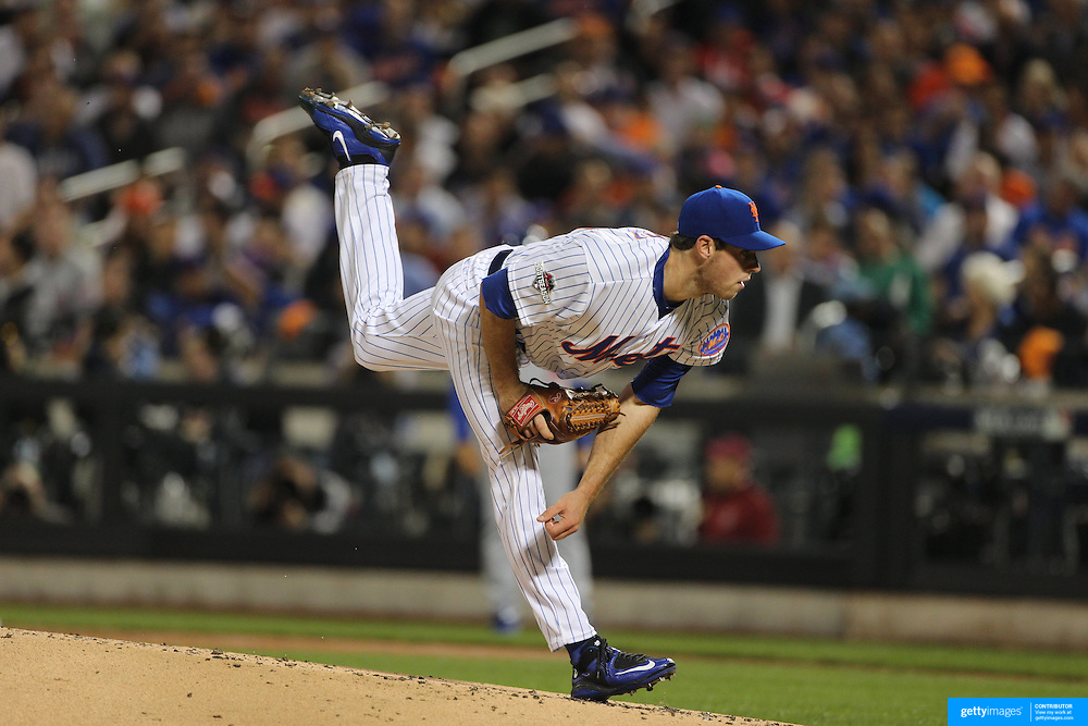 Pitcher Steven Matz, New York Mets, pitching during the New York Mets Vs Los Angeles Dodgers, game four of the NL Division Series at Citi Field, Queens, New York. USA. 13th October 2015. Photo Tim Clayton
