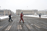 France. Paris. 8th district. Concord square  under the snow