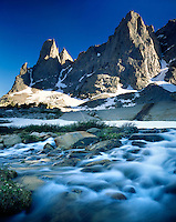 Warrior (left) and Warbonnet Peaks Cirque of the Towers Popo Agie Wilderness Wind River Range Wyoming USA