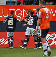 Picture by David Horn/Focus Images Ltd +44 7545 970036.16/02/2013.Millwall players celebrate Rob Hulse (centre middle) scoring his side's second goal to make it 2-0 during the The FA Cup match at Kenilworth Road, Luton.
