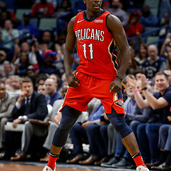 Nov 29, 2017; New Orleans, LA, USA; New Orleans Pelicans guard Jrue Holiday (11) reacts after a three point basket against the Minnesota Timberwolves during the second half at the Smoothie King Center. The Timberwolves defeated the Pelicans 120-102. Mandatory Credit: Derick E. Hingle-USA TODAY Sports