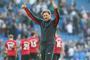 Southampton manager Ralph Hasenhuttl applauds the fans at the end of the match during the Premier League match between Brighton and Hove Albion and Southampton at the American Express Community Stadium, Brighton and Hove, England on 30 March 2019.