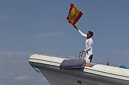 SPAIN, Cartagena. 28th August 2011. AUDI MedCup, Region of Murcia Cartagena Trophy. TP52 BRIBON support crew celebrate the boat winning the Region of Murcia Cartagena Trophy.