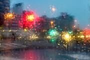 Nederland, Ubbergen, 29-1-2017 Regendruppels, waterdruppels tegen een raam tijdens een hevige regenbui FOTO: FLIP FRANSSEN