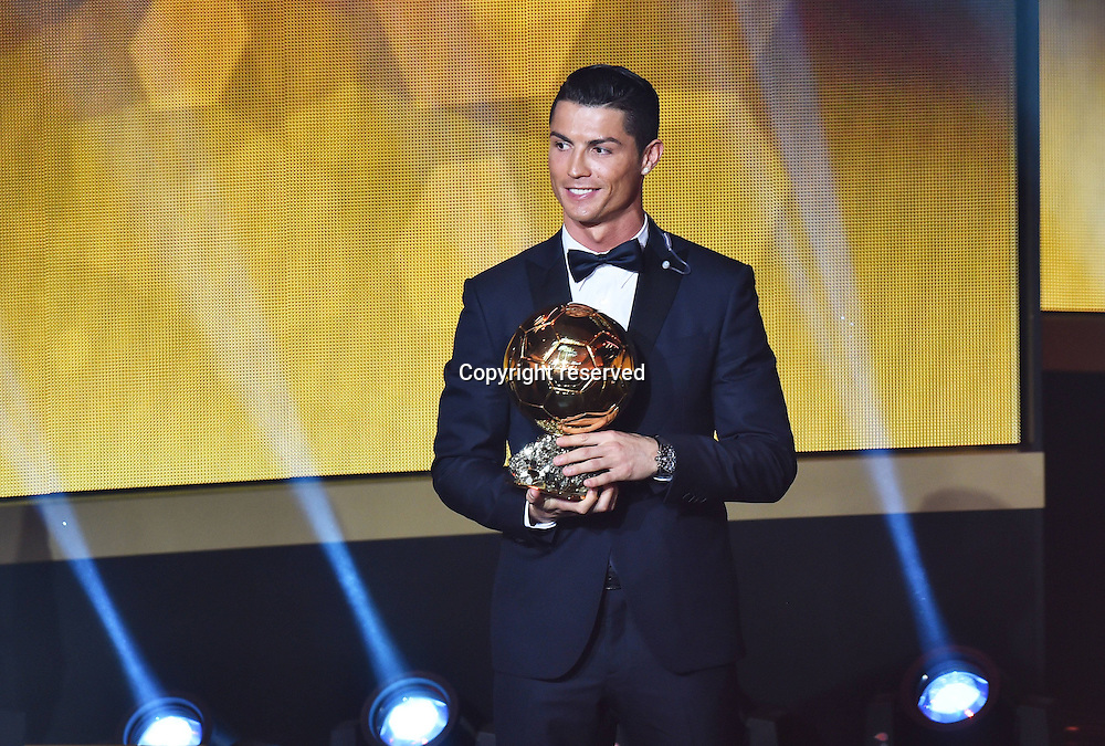 12.01.2015. Zurich, Switzerland. FIFA Ballon d'Or Gala 2014 held at the Kongresshaus in Zurich, Switzerland.  Cristiano Ronaldo with his trophy FIFA Ballon d Or 2014