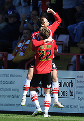 Exeter City's David Wheeler celebrates his sides goal  with Exeter City's Ryan Harley - Photo mandatory by-line: Harry Trump/JMP - Mobile: 07966 386802 - 06/04/15 - SPORT - FOOTBALL - Sky Bet League Two - Exeter City v Newport County - St James Park, Exeter, England.