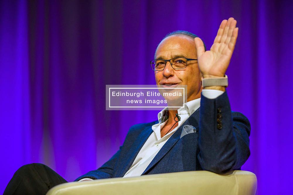 Theo Paphitis of BBC's Dragons' Den in conversation with entrepreneur Sir Tom Hunter at the Scottish Edge startup finals held at RBS HQ, Gogarburn, Edinburgh. Pic: Terry Murden @edinburghelitemedia