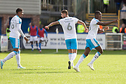 Crawley Town forward Beryly Lubala celebrate his goal with team-mates during the EFL Sky Bet League 2 match between Macclesfield Town and Crawley Town at Moss Rose, Macclesfield, United Kingdom on 7 September 2019.