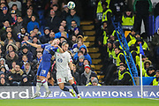 Chelsea defender César Azpilicueta (28) and Lille midfielder Yusuf Yazıcı (12) battle for the ball during the Champions League match between Chelsea and Lille OSC at Stamford Bridge, London, England on 10 December 2019.