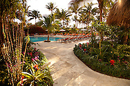Early sunrise picture of the newly lanscaped path that winds to the tranquil pool at The Palms Hotel in Miami, photographed tor their brochure and website.