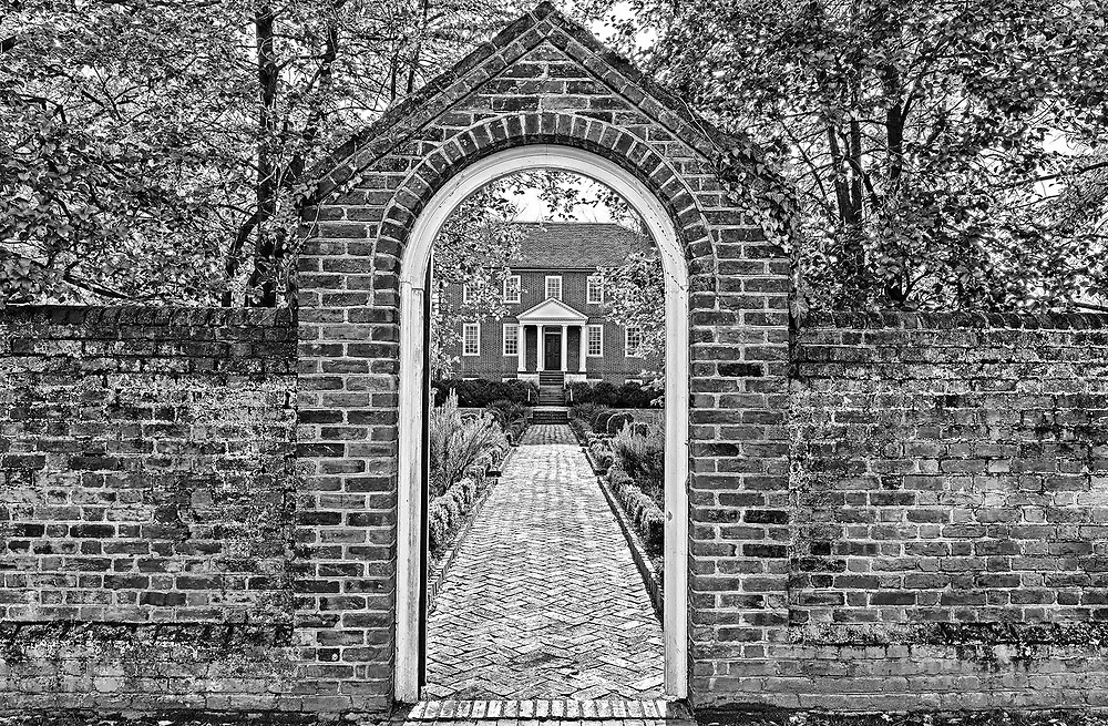 A garden gate on the grounds of historic Kenmore Plantation in Fredericksburg, Virginia.