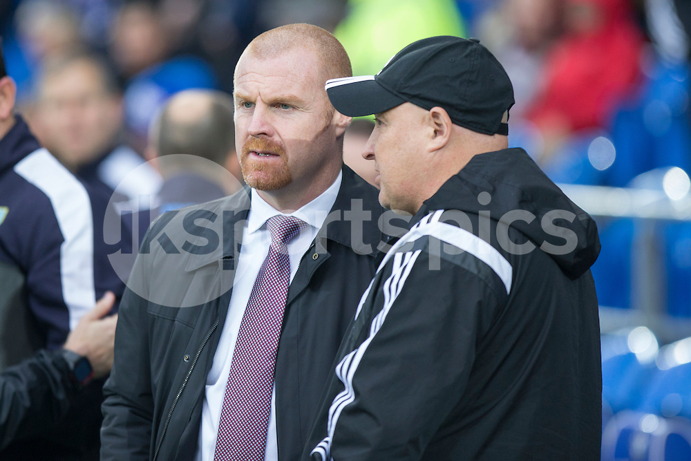 Burnley manager Sean Dyche and Cardiff City manager Russell Slade during the Sky Bet Championship match between Cardiff City and Burnley at the Cardiff City Stadium, Cardiff, Wales on 28 November 2015. Photo by Mark Hawkins.