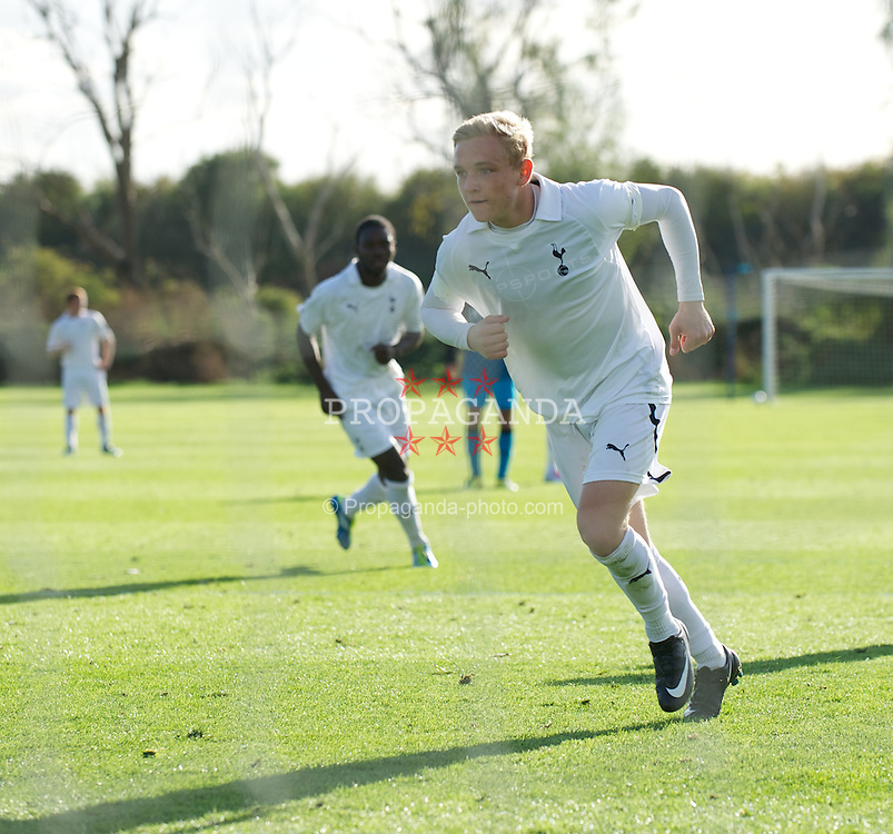 LONDON, ENGLAND - Wednesday, October 19, 2011: Tottenham Hotspur's Alex Pritchard celebrates scoring the third goal against PSV Eindhoven from the penalty spot during the NextGen Series Group 4 match at the Spurs Lodge. (Pic by David Rawcliffe/Propaganda)