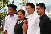 Actors Raymund Gurierrez, Ruby Ruiz, director Brillante Mendoza and actor Aaron Rivera at the Taklub film photo call at the 68th Cannes Film Festival Wednesday May 20th 2015, Cannes, France.