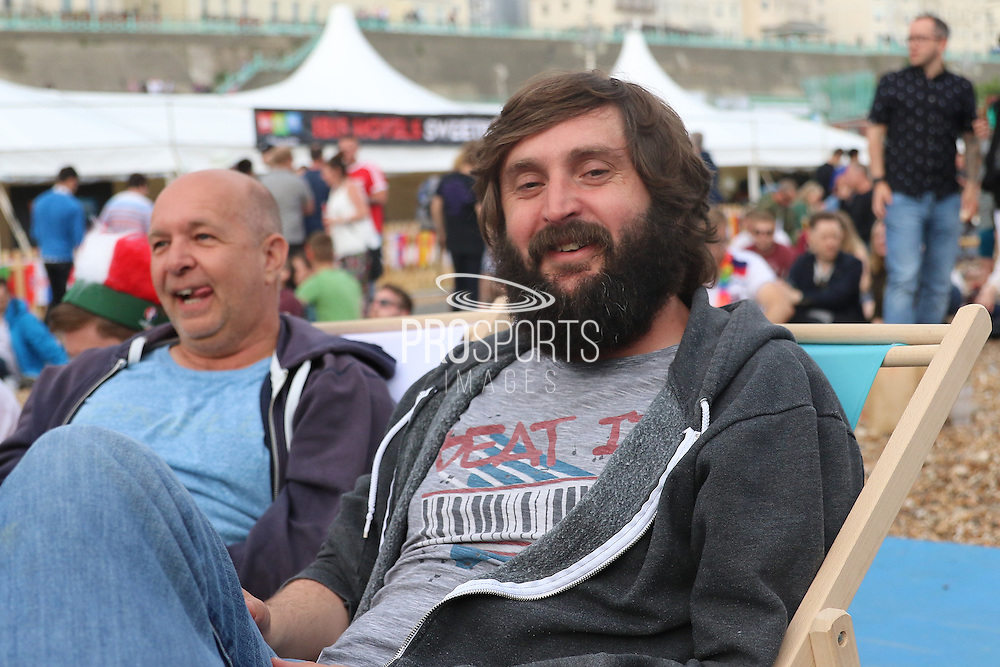 Comedian Joe Wilkinson comes to Brighton's Big Screen Events match showing at Madeira Drive, to watch England and Russia at Stade Velodrome, Marseille, France on 11 June 2016. Photo by Stuart Butcher.