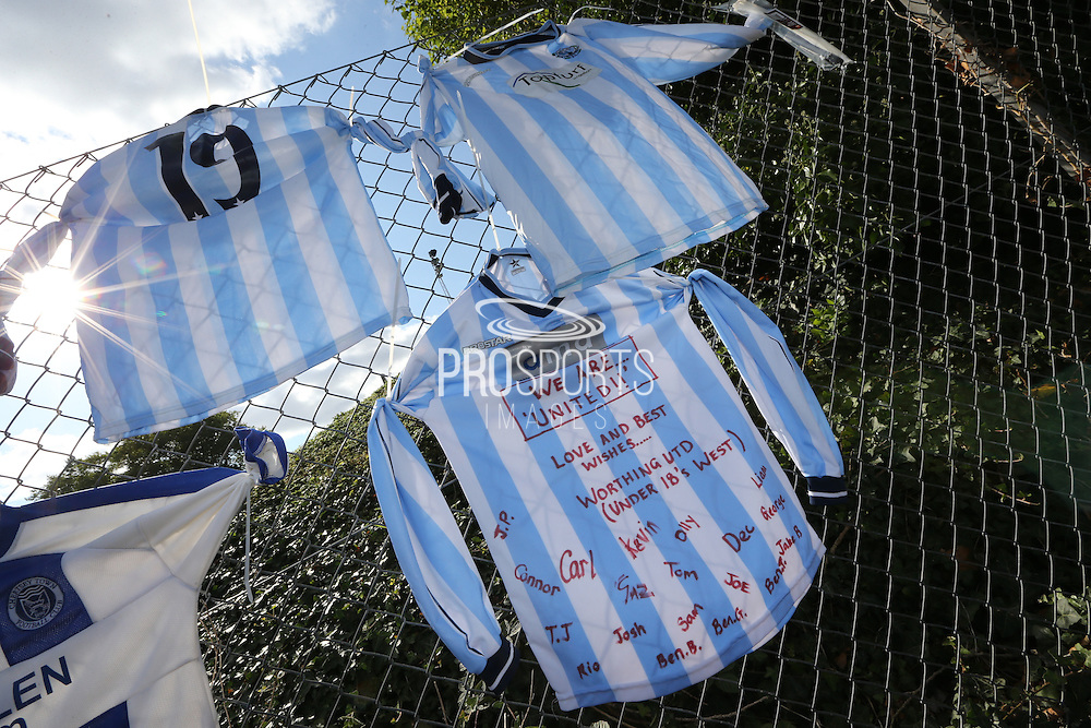 Tributes outside the stadium entrance before during the FA Vase 1st Qualifying Round match between Worthing United and East Preston FC at the Robert Eaton Memorial Ground, Worthing, United Kingdom on 6 September 2015. The first home match for Worthing United since losing team mates Matthew Grimstone and Jacob Schilt in the Shoreham air show disaster.