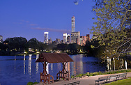 Summer-house in Central Park at night.