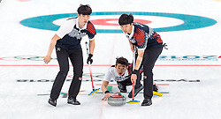 20.02.2018, Gangneung Curling Centre, Gangneung, KOR, PyeongChang 2018, Curling, Herren, Robin Session, im Bild Team Korea mit Kim Changmin, Seong Sehyeon, Kim Minchan, Lee Kibok, Oh Eunsu // Team Korea with Kim Changmin Seong Sehyeon Kim Minchan Lee Kibok Oh Eunsu during the Mens Curling Robin Session of the Pyeongchang 2018 Winter Olympic Games at the Gangneung Curling Centre in Gangneung, South Korea on 2018/02/20. EXPA Pictures © 2018, PhotoCredit: EXPA/ Johann Groder