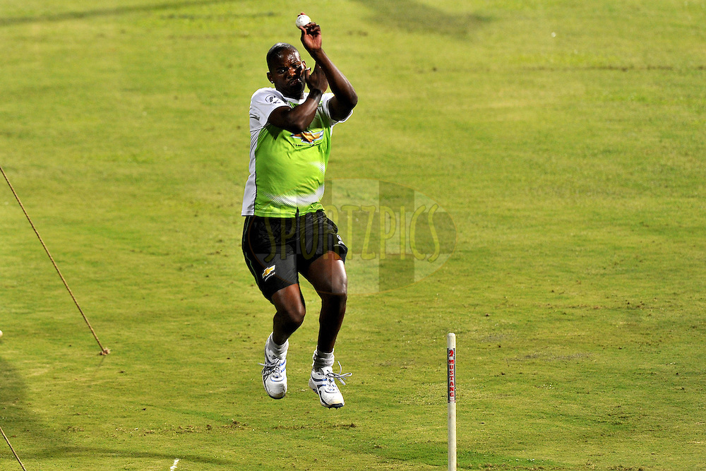 Lonwabo Tsotsobe of Warriors  bowls during the Warriors training and nets session held at the  M.Chinnaswamy Stadium in Bangalore , Karnataka, India on the 22nd September 2011..Photo by Pal Pillai/BCCI/SPORTZPICS