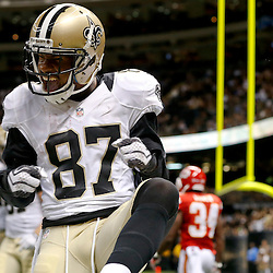 Aug 9, 2013; New Orleans, LA, USA; New Orleans Saints wide receiver Preston Parker (87) celebrates after a touchdown catch against the Kansas City Chiefs during the second half of a preseason game at the Mercedes-Benz Superdome. The Saints defeated the Chiefs 17-13. Mandatory Credit: Derick E. Hingle-USA TODAY Sports