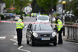 © Licensed to London News Pictures. 02/05/2018. London, UK. The scene outside Queensbury tube station on  Cumberland Road <br />