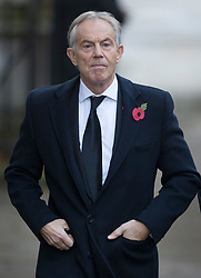 © Licensed to London News Pictures. 12/11/2017. London, UK. Former Prime Minister Tony Blair walks through Downing Street to attend the Remembrance Sunday Ceremony at the Cenotaph in Whitehall. Photo credit: Peter Macdiarmid/LNP