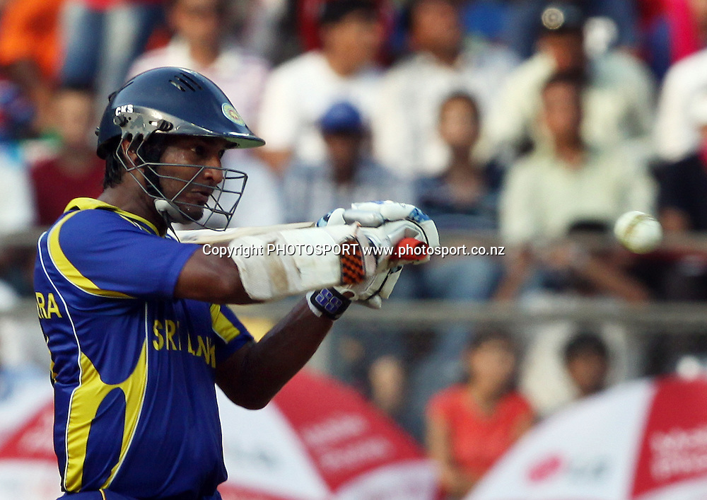 Sri Lankan captain Kumar Sangakkara plays a shot against New Zealand  During the ICC Cricket World Cup - 38th Match, Group A Sri Lanka vs New Zealand  Played at Wankhede Stadium, Mumbai (neutral venue) 18 March 2011 - day/night (50-over match)