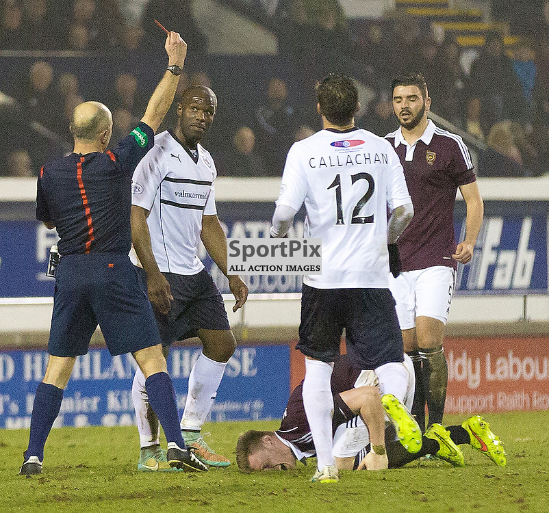 Raith Rovers v Hearts Scottish Championship 17 March 2015; Raith Rovers Christian Nade receives a red card after a heavy tackle on Kevin McHattie (Hearts3)  during the Raith Rovers v Heart of Midlothian Scottish Championship match played at Stark's Park, Kirkcaldy;