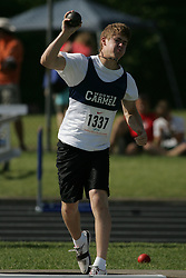 London, Ontario ---07/06/08--- Mitch Winters of Our Lady of Mount CarmelinMissi competes in the Shot put at the 2008 OFSAA Track and Field meet in Hamilton, Ontario..Sean Burges