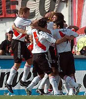 08/10/06 -Bs.As. - Argentina - RIVER PLATE (3) Vs. BOCA Jrs. (1) in the Argentine Football Derby . Match at the River Plate Monumental Stadium.<br /> Here  River Plate GONZALO HIGUAIN celebrating his goal.<br /> Torneo Apertura 2006/2007.<br /> © Argenpress.com / PikoPress