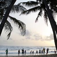 Football on the beach in Kerala, India. <br /> <br /> Photo: Tom Pietrasik<br /> June 2014<br /> Kerala, India