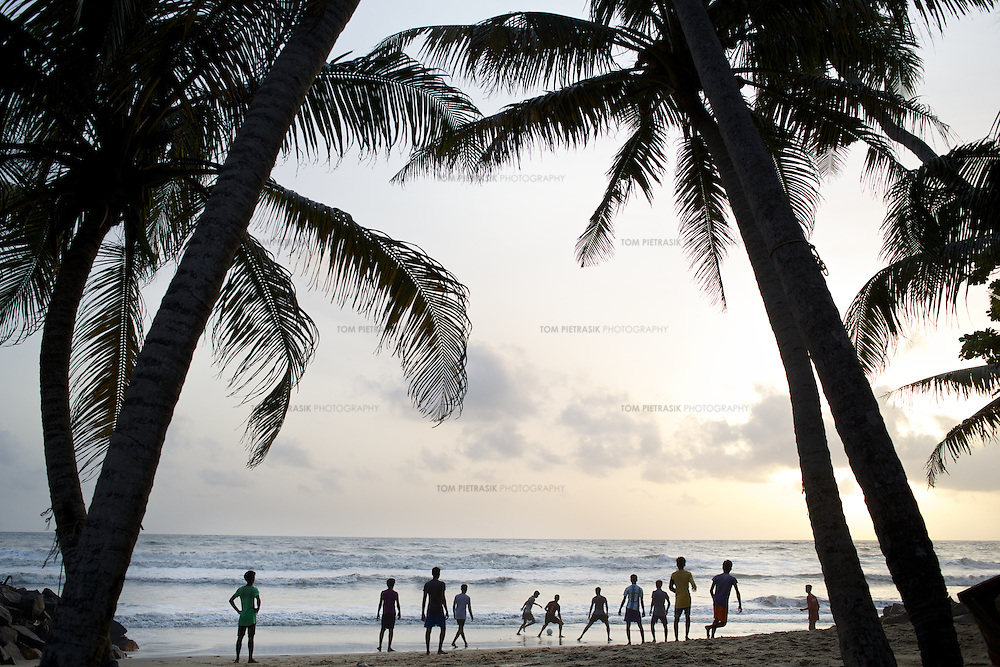 Football on the beach in Kerala, India. <br />