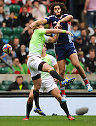 LONDON, ENGLAND - Saturday 10 May 2014, Philip Snyman of South Africa and Jonathan Laugel of France tussle for the aerial ball during the match between South Africa and France at the Marriott London Sevens rugby tournament being held at Twickenham Rugby Stadium in London as part of the HSBC Sevens World Series.<br /> Photo by Roger Sedres/ImageSA